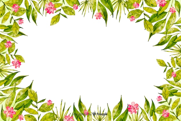 Watercolor frame with flowers background Free Vector