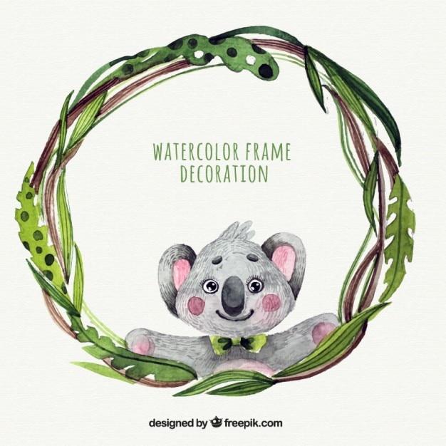 Cornice acquerello con un koala Vettore gratuito
