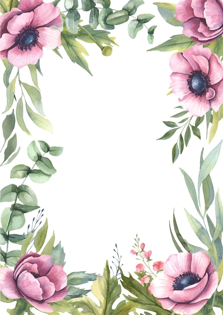 Акварельная рамка с розовыми цветами. Premium векторы