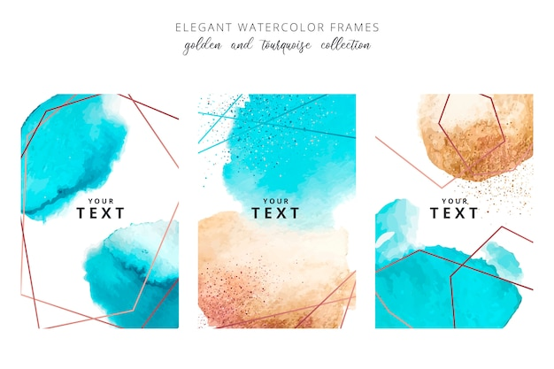Watercolor frames with golden and tourquoise splashes Free Vector