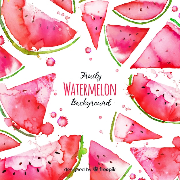 Watercolor fresh watermelon background Free Vector