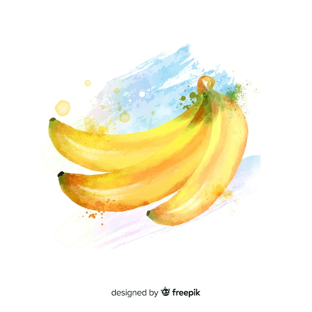 Watercolor fruit background with bananas Free Vector