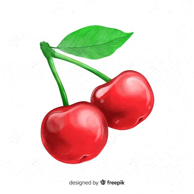 Watercolor fruit background with cherries Premium Vector
