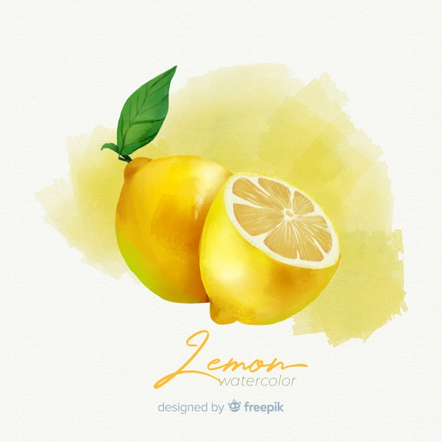 Watercolor fruit background with lemons Free Vector
