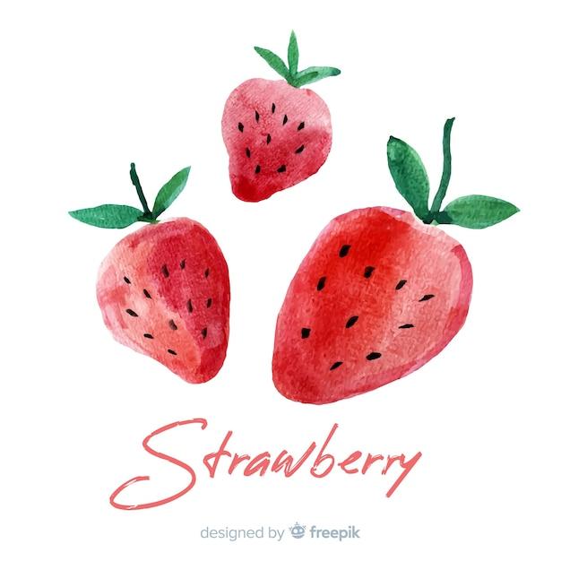 イチゴと水彩のフルーツの背景 無料ベクター