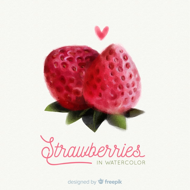 Watercolor fruit background with strawberries Free Vector
