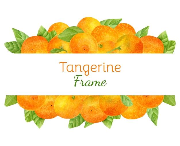 Акварельная фруктовая рамка с сочными мандаринами Premium векторы