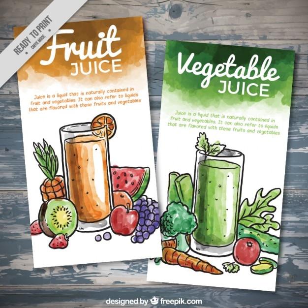 Acquerello frutta e verdura volantini succo Vettore gratuito