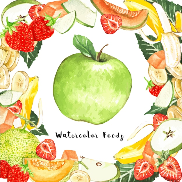 Watercolor fruits around a apple Free Vector