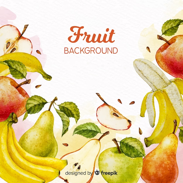 Watercolor fruits background Free Vector