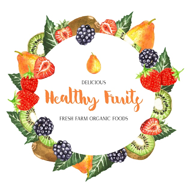 Watercolor fruits frame Free Vector