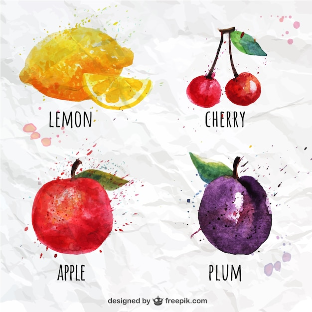 Watercolor fruits set Free Vector