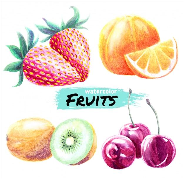 Watercolor fruits Premium Vector