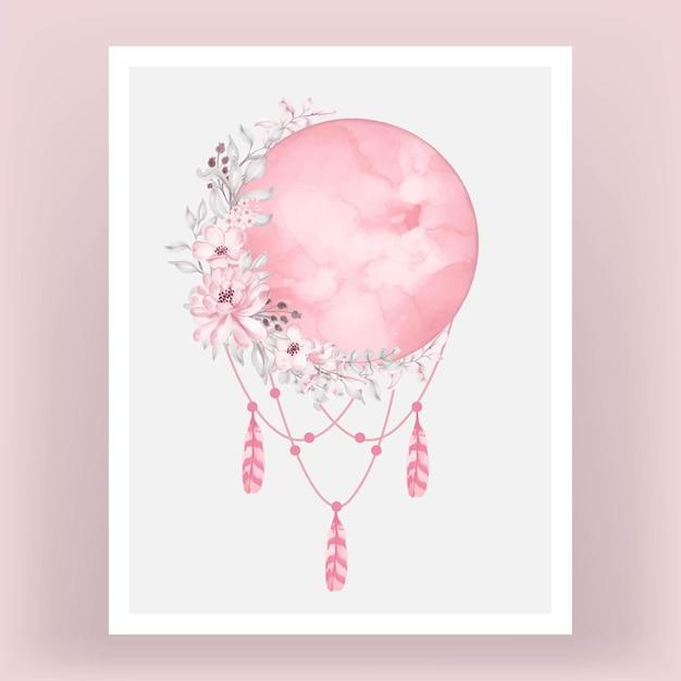 꽃과 밝은 분홍색에 수채화 보름달 프리미엄 벡터