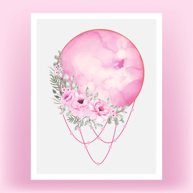 Watercolor full moon pink shade with rose flower Free Vector