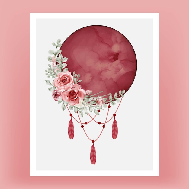 Watercolor full moon in red burgundy with flower Free Vector