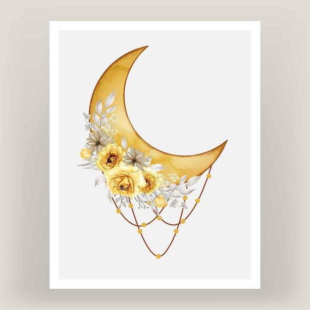 Watercolor full moon yellow shade with rose flower Free Vector