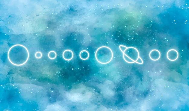 ネオンの太陽系と水彩銀河背景 無料ベクター
