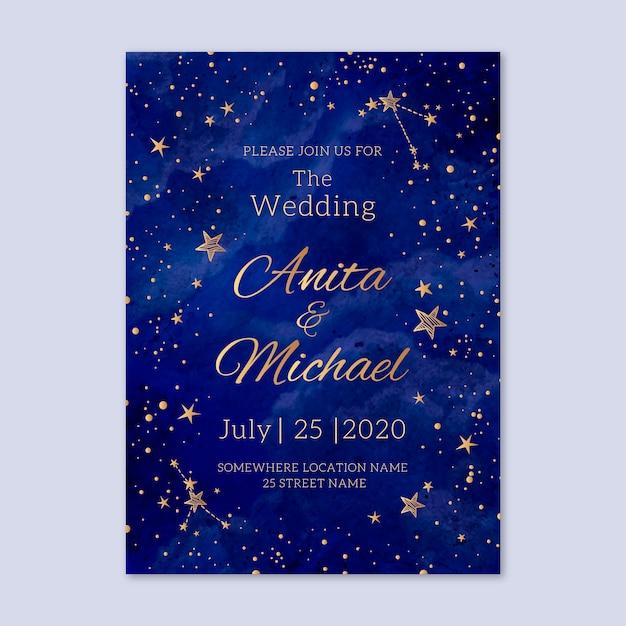 Watercolor galaxy wedding invitation Premium Vector