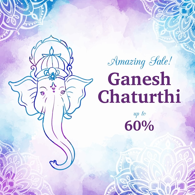 Watercolor ganesh chaturthi sale banner Free Vector