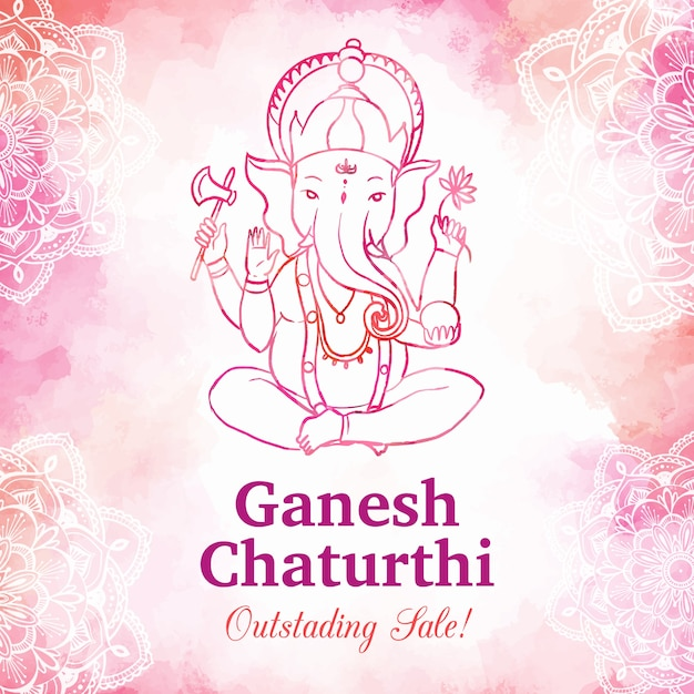 Watercolor ganesh chaturthi sale Free Vector
