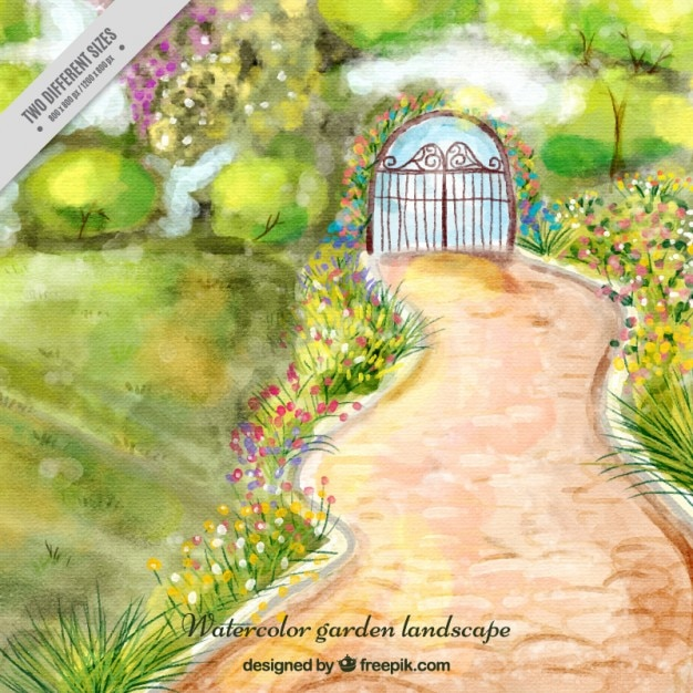 Watercolor Garden Landscape With A Path Background Free Vector