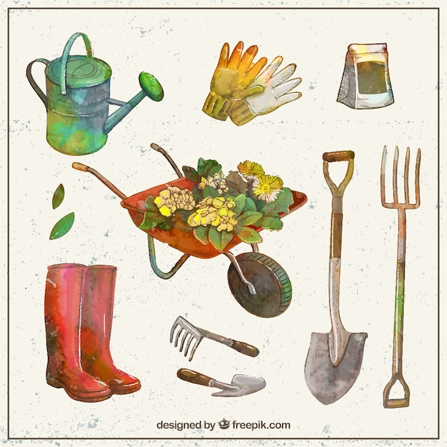 Watercolor gardening tools collection vector free download for Gardening tools to have