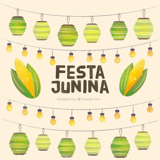 Watercolor garlands decoration festa junina background Free Vector