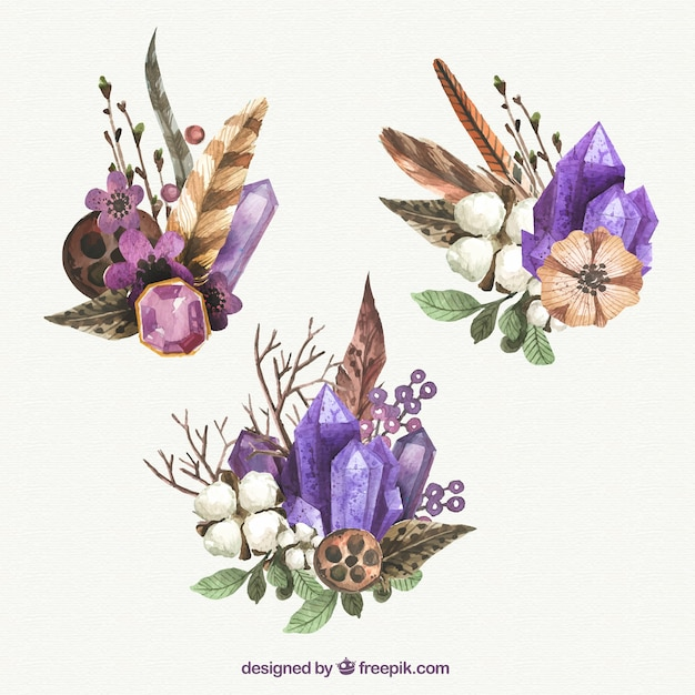 Watercolor gemstones with flowers Free Vector