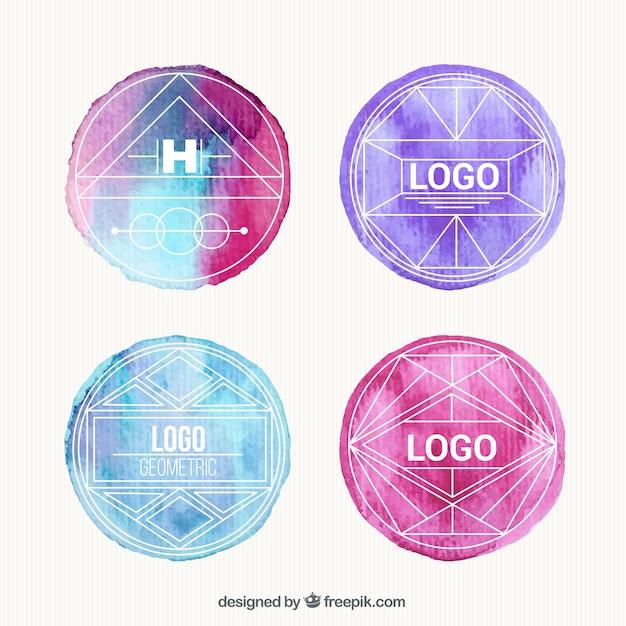 Watercolor Geometric Logos Vector Free Download