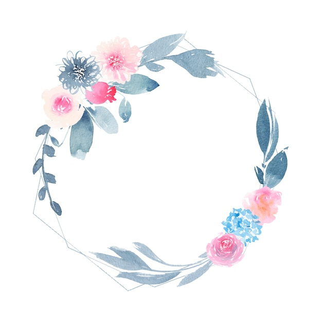 Watercolor geometric round wreath with flower pink rose and indigo leaves Free Vector