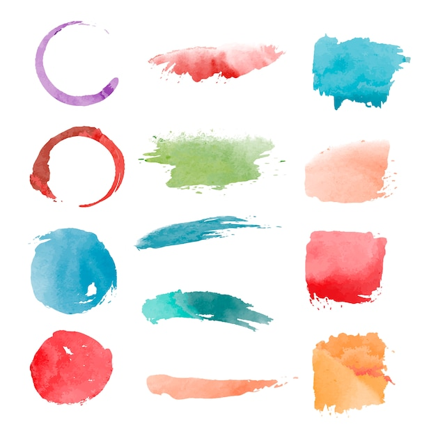 Watercolor geometric shapes vector set Free Vector