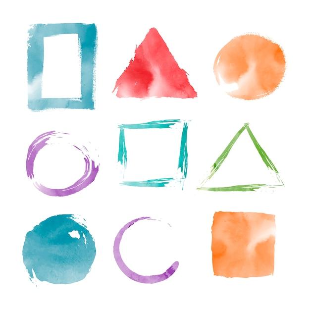 Watercolor geometric shapes vector set Free Vector