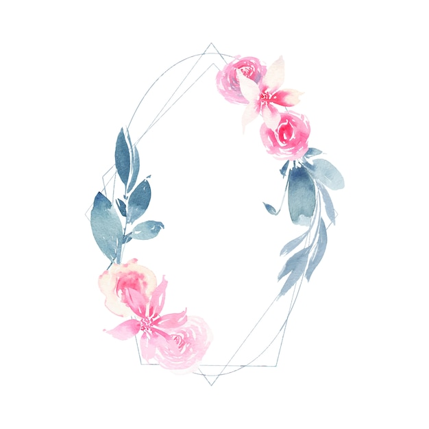 Watercolor geometric wreath with flower pink rose and indigo leaves Free Vector