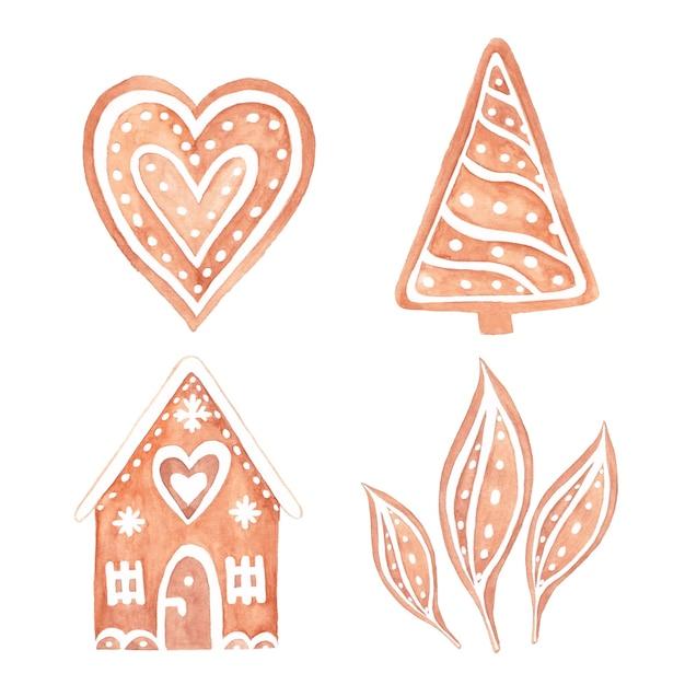 クリスマスのための水彩ジンジャーブレッドクッキー。生姜パンの水彩手描きセット。 Premiumベクター