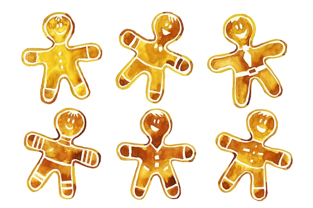 Watercolor gingerbread man cookie collection Free Vector