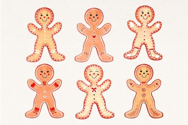 水彩ジンジャーブレッドマンクッキーコレクション 無料ベクター
