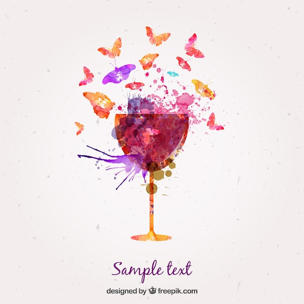 Watercolor glass of wine and butterflies Free Vector