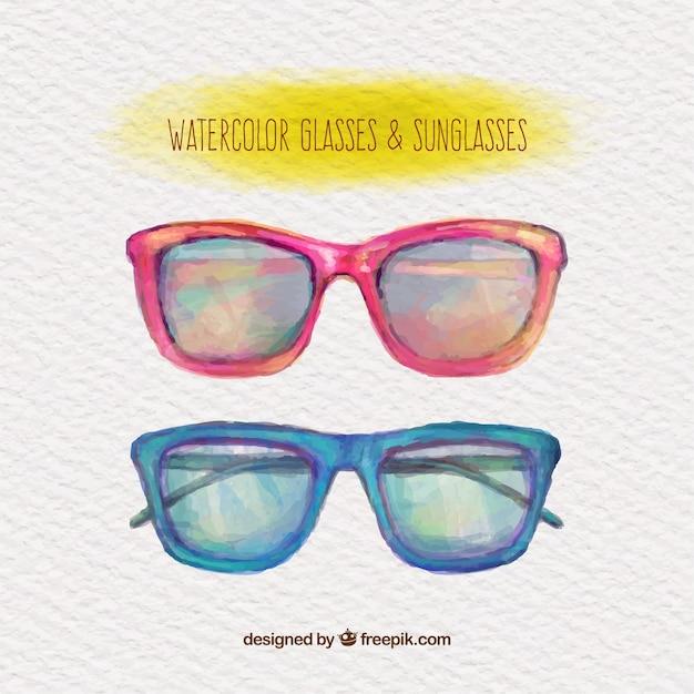 54fd451b5f6 Watercolor glasses and sunglasses Vector | Free Download