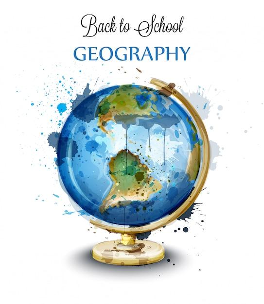 Watercolor globe isolated on white Premium Vector