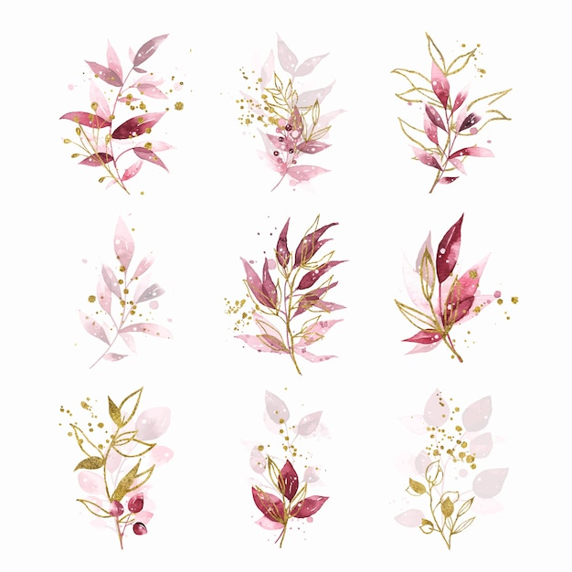 Watercolor gold hand painted botanical burgundy maroon leaves wedding bouquet Free Vector