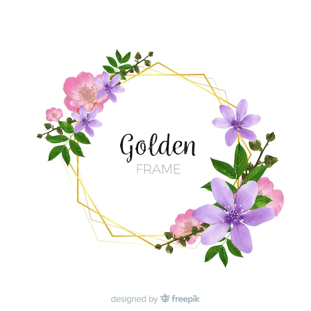 Watercolor golden frame with flowers Free Vector