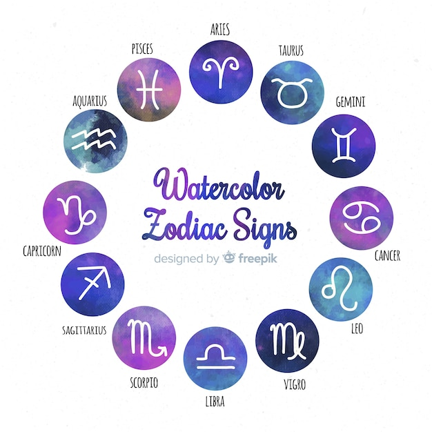 Watercolor gradient zodiac sign collection Free Vector