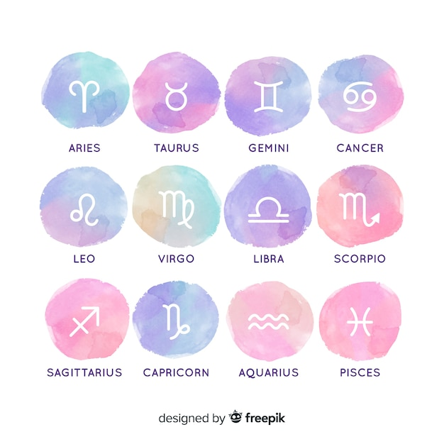 Watercolor gradient zodiac sign collection Vector | Free