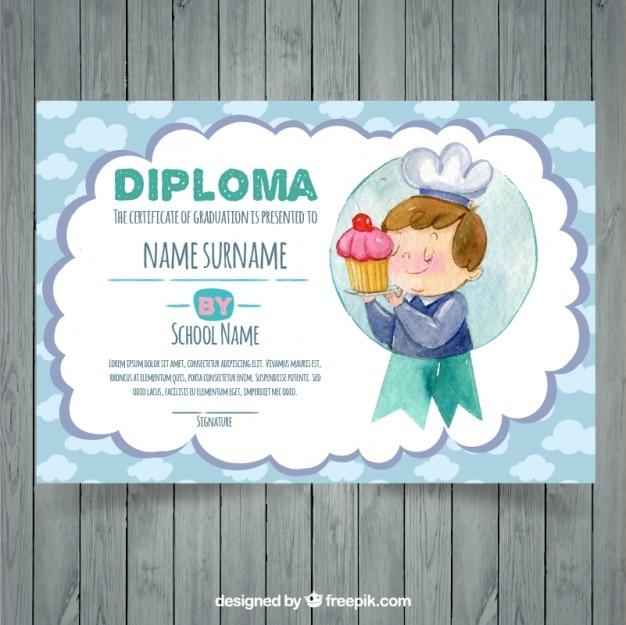 Watercolor Graduation Certificate Template Vector Free Download