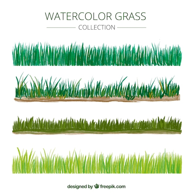 Watercolor grass borders in different shades of green Free Vector