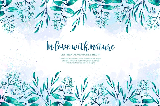 Watercolor green and blue leaves frame Free Vector