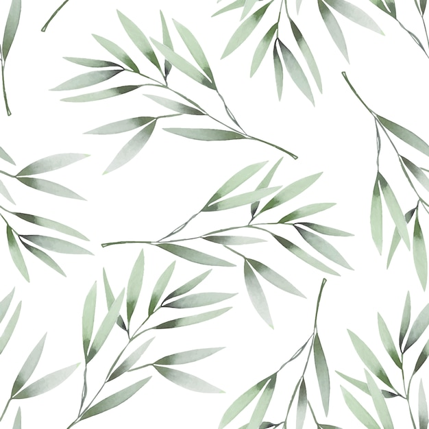 Watercolor green branches seamless pattern Premium Vector