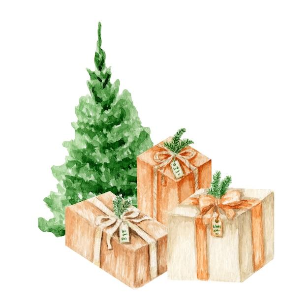 プレゼントボックスイラストと水彩緑のクリスマスツリー Premiumベクター