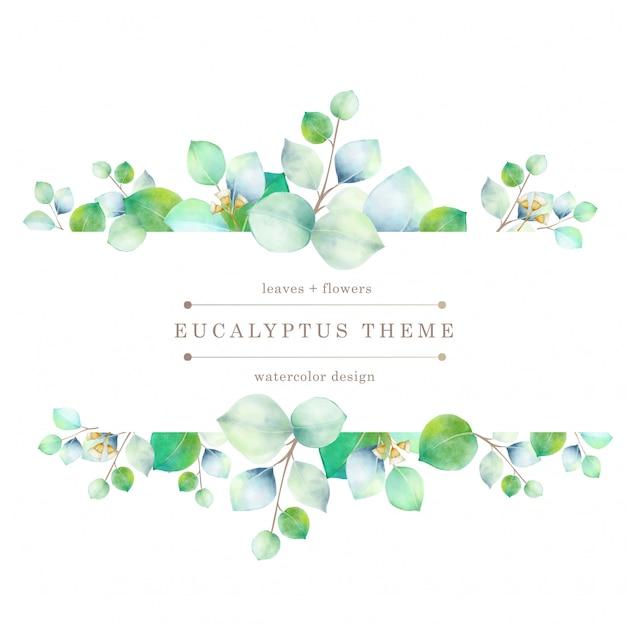 Watercolor green floral card Premium Vector